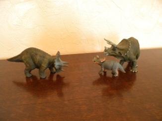 À gauche : tricératops Schleich. À droite : bébé et adulte tricératops Papo. Crédit : Chris Bellabas.