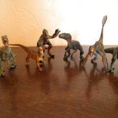 De gauche à droite : Vélociraptor léopard (Papo), utahraptor (Safari), vélociraptor à plumes (Bullyland), vélociraptor bleu (Papo), vélociraptor à plumes (Papo), vélociraptor vert (Papo)