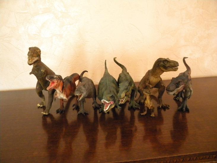 De gauche à droite : T-Rex brun (Schleich), T-Rex orange et noir (Safari), T-Rex gris (Bullyland), T-Rex rugissant (Collecta), T-Rex vert courant (Papo), Bébé T-Rex (Papo), T-Rex brun assis (Papo), T-Rex bicolore courant (Papo)